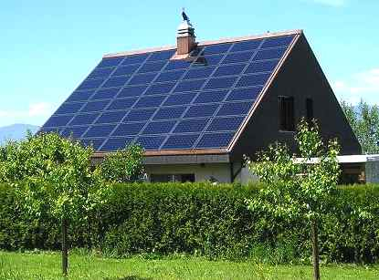 A residential solar hydrogen home powered with photovoltaic solar cells.